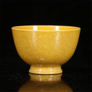 A CHINESE YELLOW GLAZED CARVED DRAGON PORCELAIN CUP