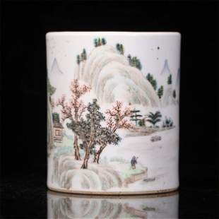 A CHINESE FAMILLE ROSE PORCELAIN MOUNTAINS LANDSCAPE