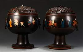 PAIR CHINESE LACQUER-WARE FIGURAL STEM BOXES AND LIDS