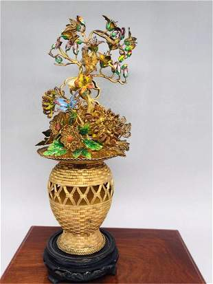 A CHINESE SILVER GILT AND ENAMELED FLOWER BASKET