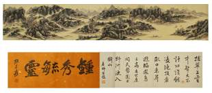 A CHINESE SCROLL PAINTING DEPICTING LANDSCAPE AND