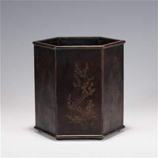 A CHINESE BRONZE HEXAGONAL BRUSH POT