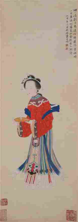 A CHINESE PAINTING OF LADY HOLDING A JUE CUP