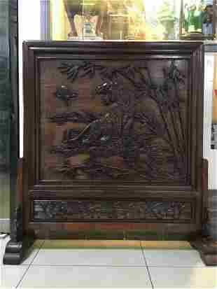 A CHINESE HARDWOOD TIGER AND BAMBOO TABLE SCREEN