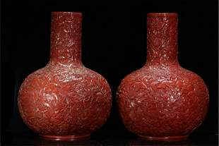 PAIR CHINESE CARVED RED LACQUER FLORAL VASES