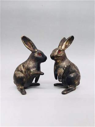 PAIR CHINESE CARVED SILVER RABBITS