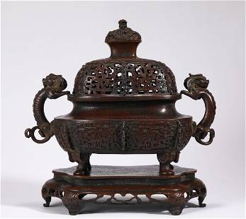 A CHINESE BRONZE BEASTS INCENSE BURNER