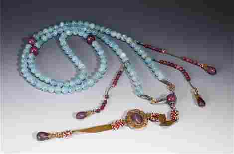 A STRING OF CHINESE HARD-STONES CHAO-ZHU