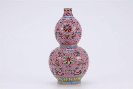 A CHINESE FAMILLE ROSE DOUBLE-GOURDS VASE