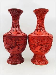 PAIR OF CARVED RED LACQUER FLORAL VASES