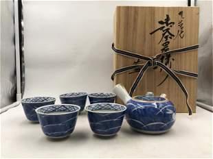 SET OF BLUE AND WHITE PORCELAIN TEA WARES