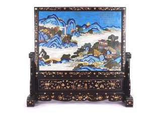 A CLOISONNE AND HARDWOOD TABLE SCREEN