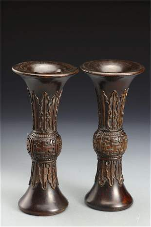 PAIR CHINESE CARVED CHENXIANG WOOD GU VASES