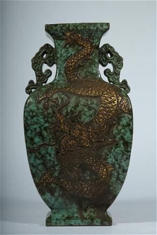 A CHINESE COPPER GREEN GLAZE DRAGON VASE
