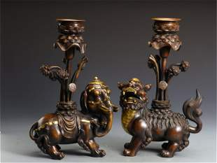 PAIR CHINESE GILT BRONZE CANDLE HOLDERS
