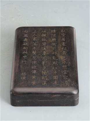 A CHINESE INK-STONE WITH AN INSCRIBED COVER