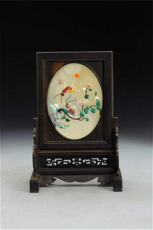 A POLYCHROME HARD-STONES INLAID TABLE SCREEN