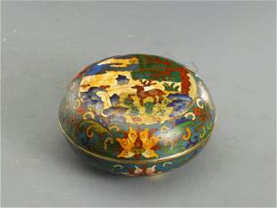 A CHINESE CLOISONNE ENAMEL BOX AND COVER
