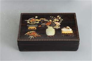 A CHINESE HARD-STONES INLAID ZITAN BOX AND COVER