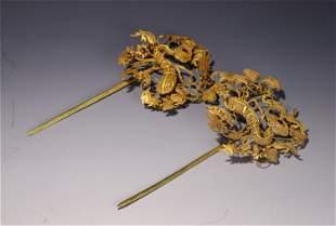 PAIR OF CHINESE GOLD HAIR PINS