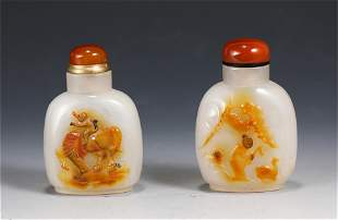 PAIR OF CHINESE CARVED AGATE SNUFF BOTTLES