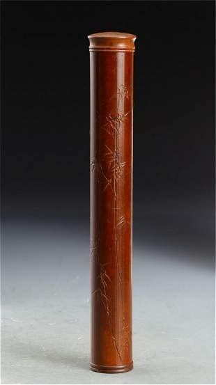 A CHINESE CARVED BAMBOO INCENSE TUBE AND COVER