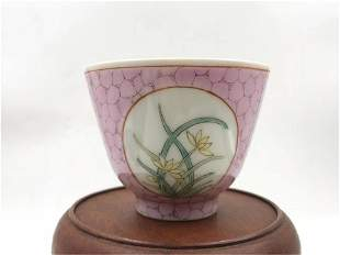 A CHINESE FAMILLE ROSE FLORAL CUP