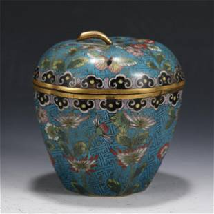 AN APPLE SHAPED CLOISONNE BOX AND COVER