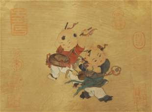A CHINESE PAINTING OF CHILDREN PLAYING DRUMS