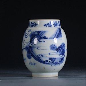 A BLUE AND WHITE LANDSCAPE-FIGURES JAR