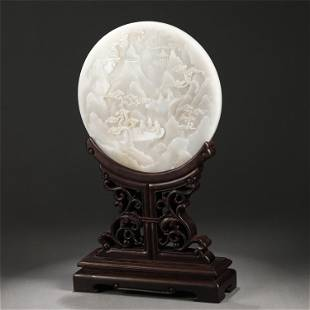 A JADE CARVED FIGURES STORY CIRCULAR TABLE SCREEN