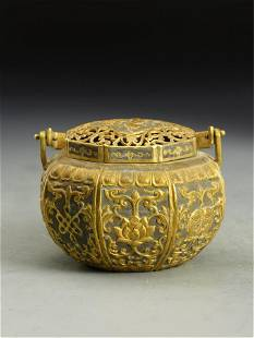 A CHINESE GILT SILVER LANG HANDLE CENSER