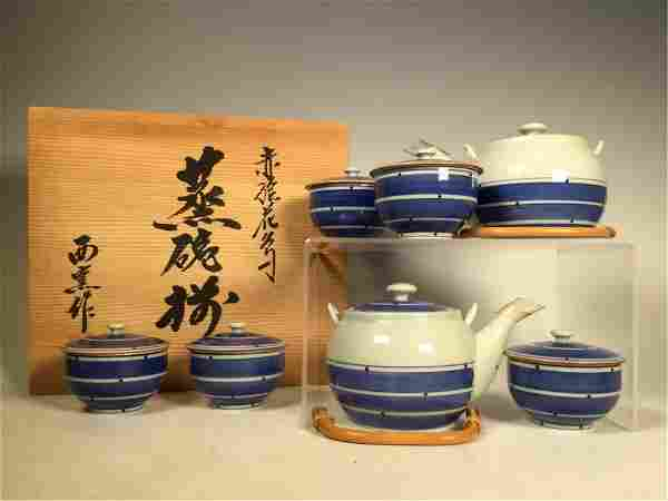 A GROUP OF CHINESE BLUE AND WHITE PORCELAIN TEA SET