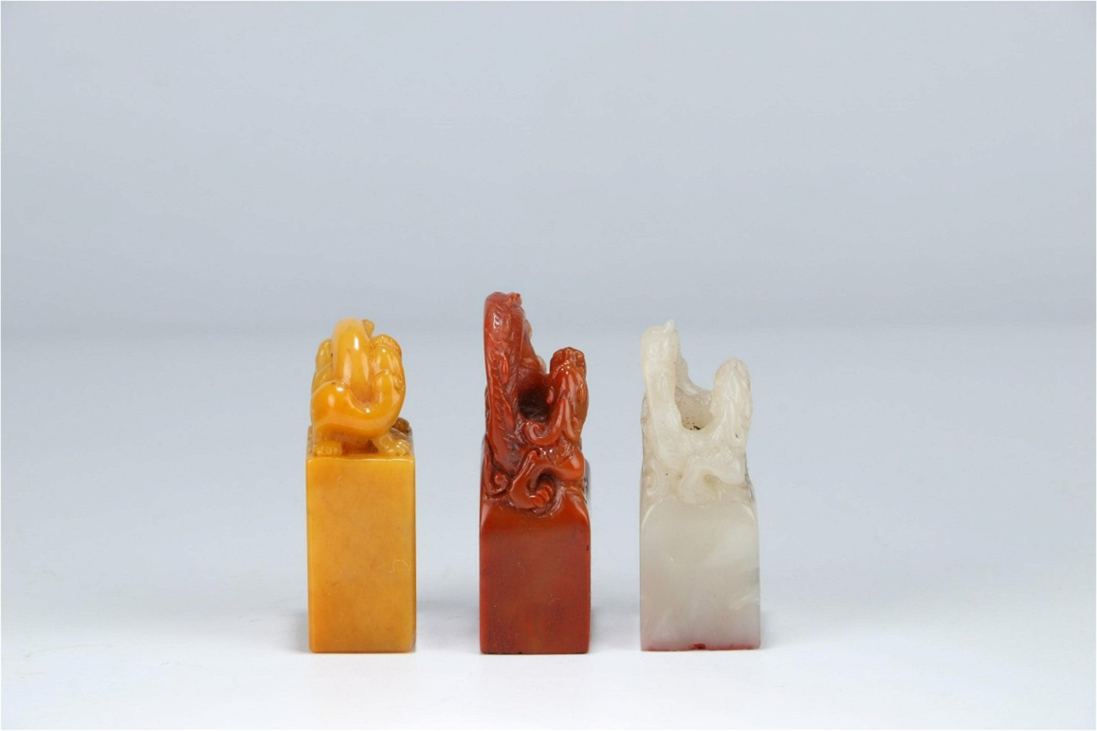 A Set of Three Chinese Carved Stone Seals