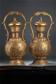 A Pair of Chinese Gilt Bronze Wine Pots