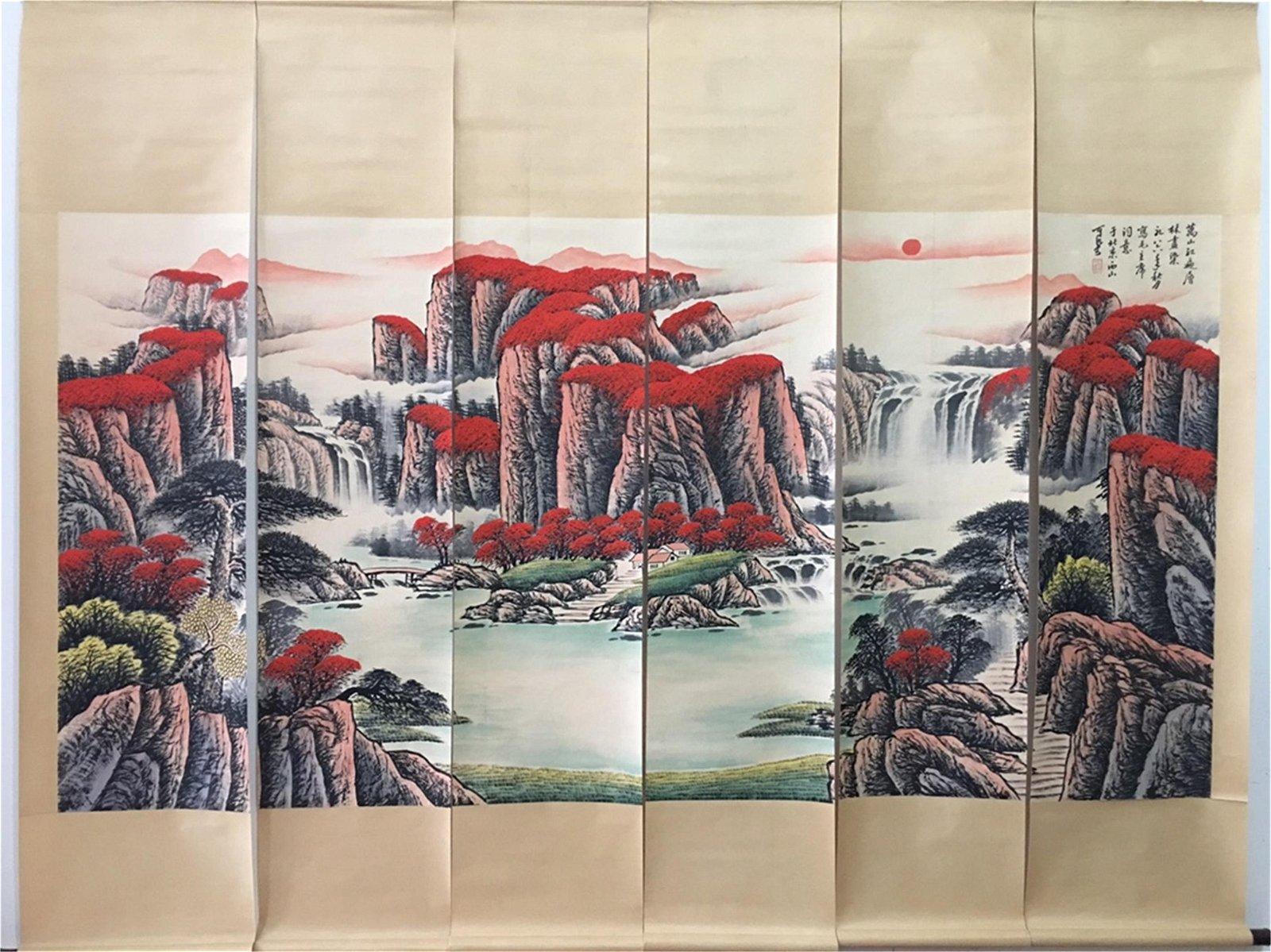 A Set of Six Chinese Scroll Paintings, Li Keran Mark