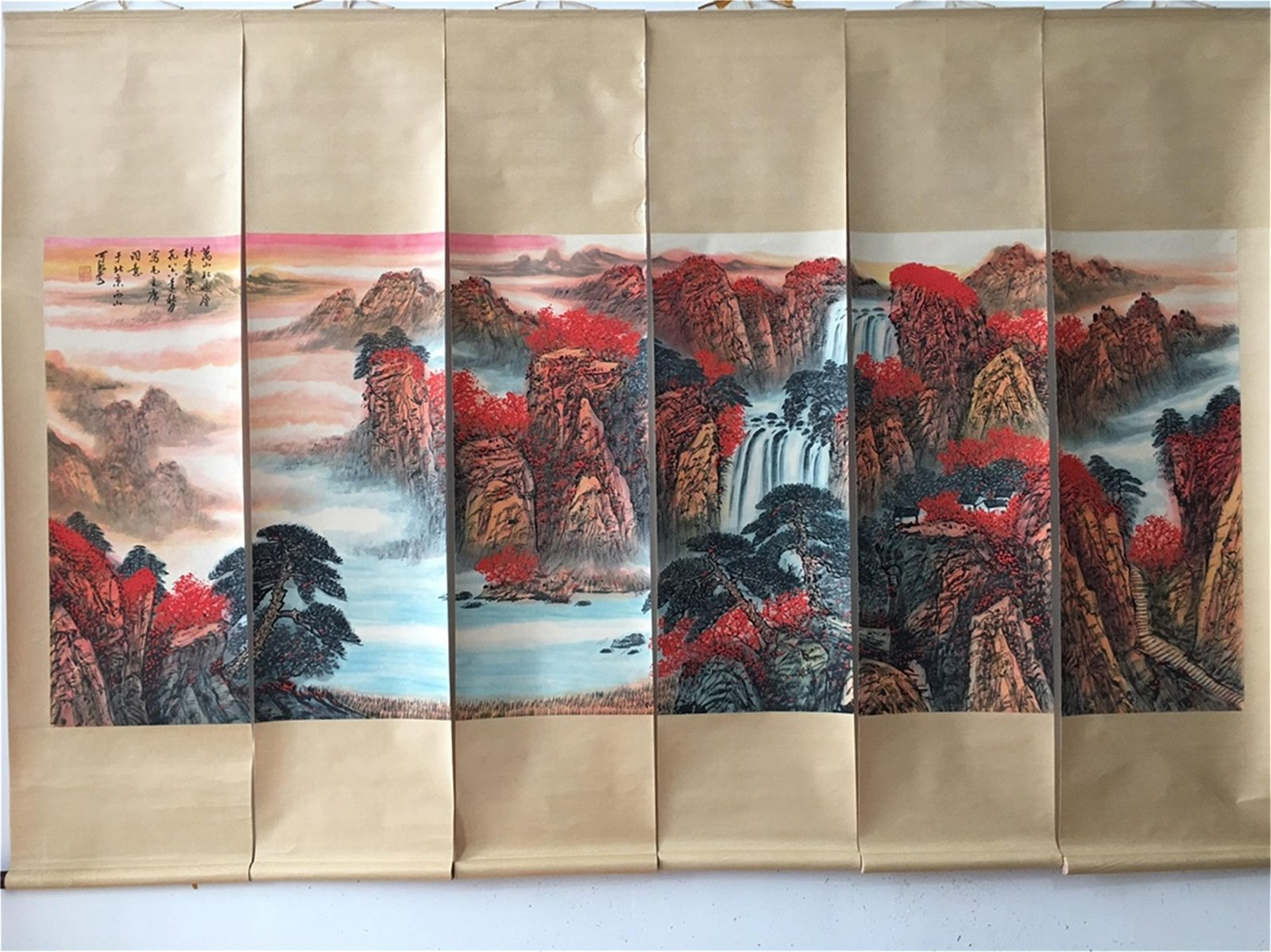A Set of Six Chinese Scroll Paintings, Li Keran Mark