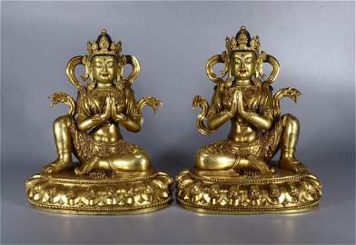 A Pair of Chinese Gilt Bronze Figure of Buddha