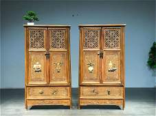A Pair of Chinese Carved Hardwood Cabinets with Jade