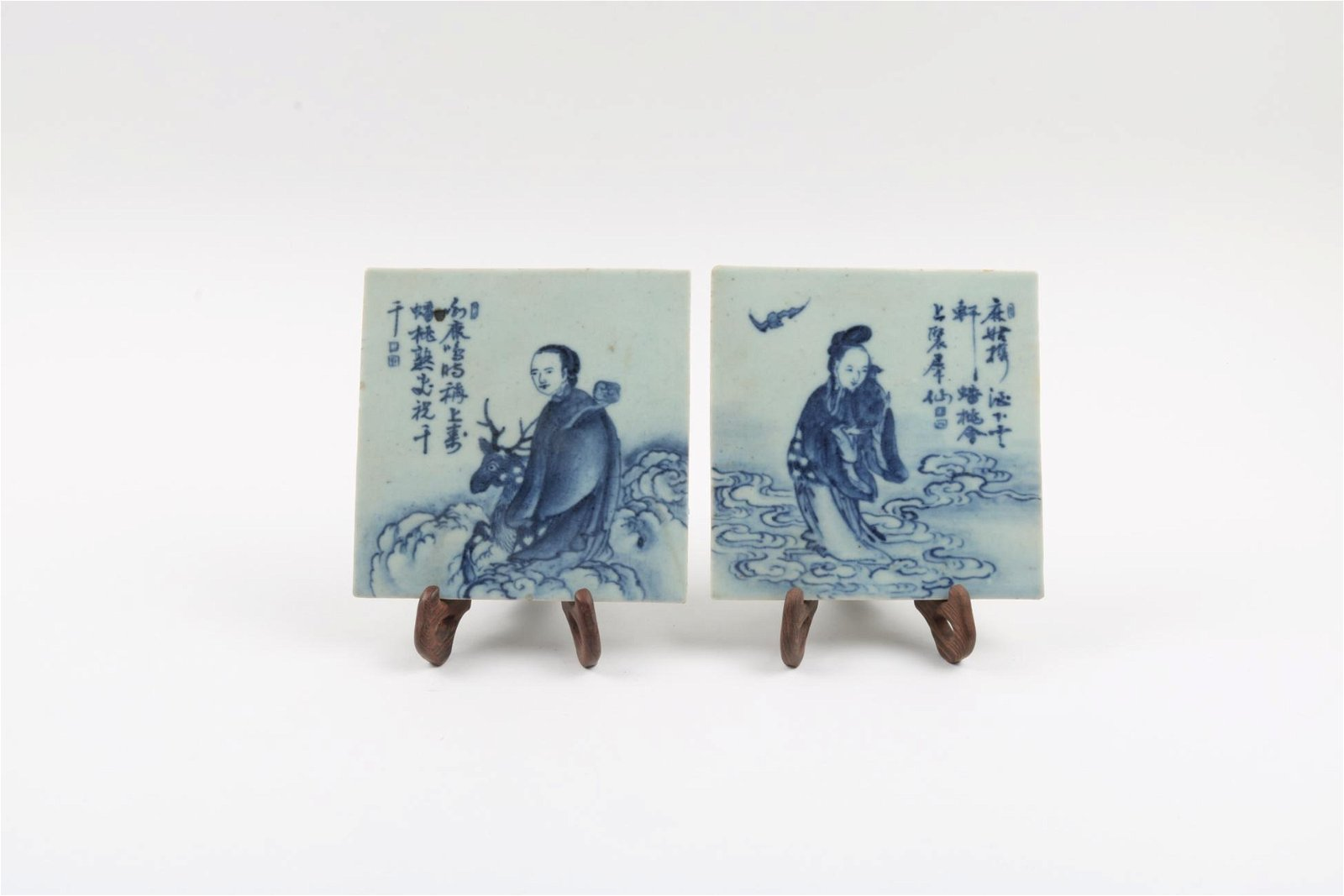A Pair of Chinese Blue and White Porcelain Plaques