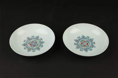 A Pair of Chinese Dou-Cai Glazed Porcelain Plates