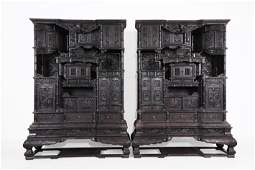 A Pair of Chinese Carved Hardwood Cabinets
