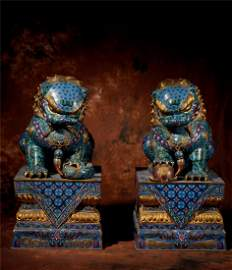 A Pair of Chinese Cloisonne Decorations