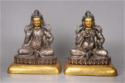 A Pair of Chinese Gilt Silver Figure of Buddha