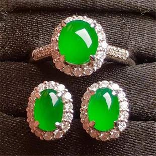 A Set of Chinese Jadeite Carved Earrings and A Ring