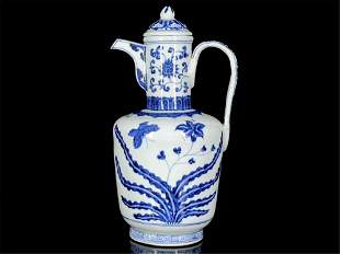 A Chinese Blue and White Porcelain Wine Pot