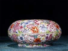 A Chinese Famille-Rose Porcelain Ink-Pad Box