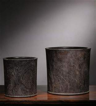 A Pair of Chinese Carved Hardwood Brush Pots