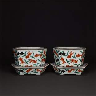A Pair of Chinese Famille-Rose Porcelain Flower Pots