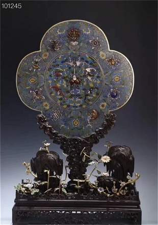 A Chinese Cloisonne Table Screen